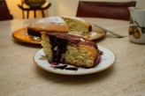 Olive oil - Ricotta Cake with Concord Grape Coulis