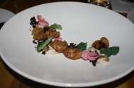 Sweetbread, sherry, heart of palm, morcilla