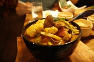 Thai curry with mussels and manila clams