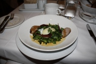 Apple Sausage with Duck Prosciutto, Poached Egg and Watercress