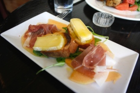 Seasonal Melon Carpaccio with prosciutto, figs, arugula and robiola fettunta